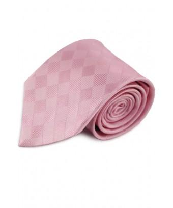 KRAVATA Růžová  s decentním károvaným vzorem