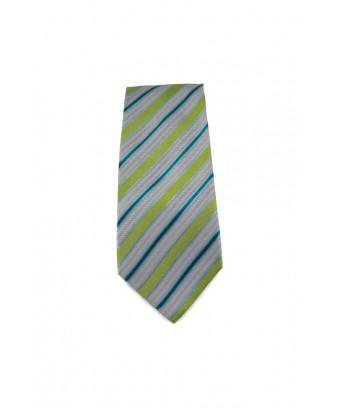 KRAVATA Stříbrná  s proužky (zelená, modrá)