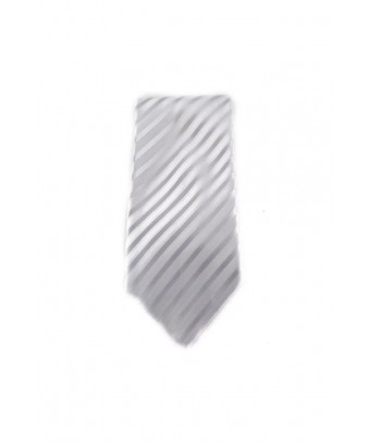 KRAVATA Pruhovaná  (bílá, stříbrná)