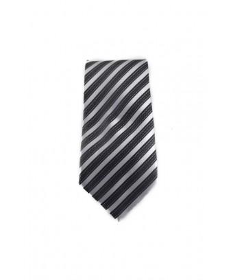 KRAVATA Pruhovaná  (černá, stříbrná)