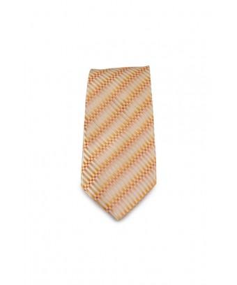 KRAVATA Oranžová  s atypickým vzorem (bílá)