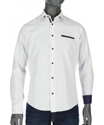 REPABLO bílá košile s jemným modrým vzorem