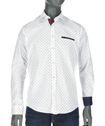 REPABLO bílá slim košile s modrým vzorem