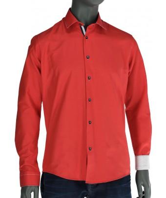 REPABLO ohnivě červená slim košile s výrazným prošíváním