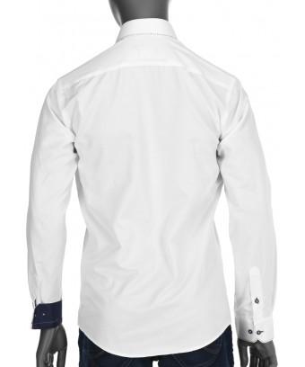 REPABLO bílá slim košile s výrazným prošíváním