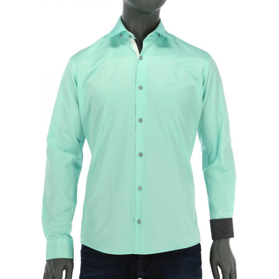 REPABLO pastelově zelená slim košile