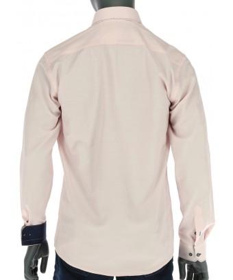 REPABLO lososová slim košile s výrazným prošíváním