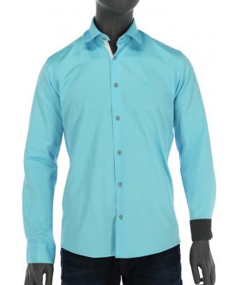 REPABLO azurově modrá slim košile