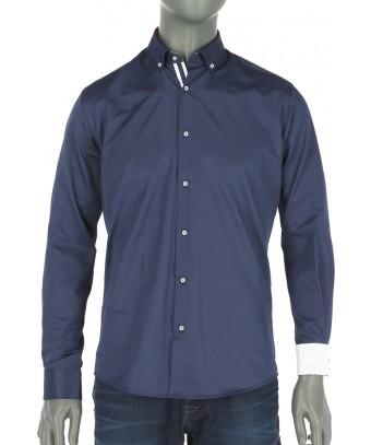 REPABLO tmavě modrá košile s bílou podšívkou