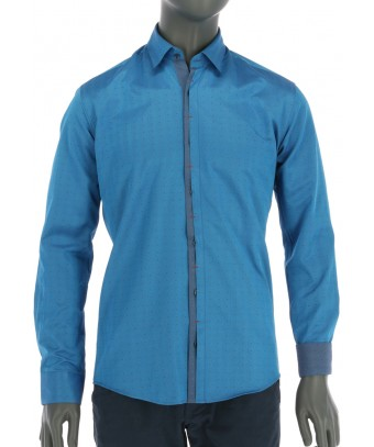REPABLO slim zářivě modrá košile s klopu na knoflíky