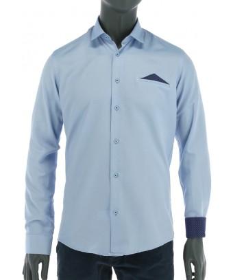 REPABLO pastelově modrá košile s falešnou náprsní kapsou