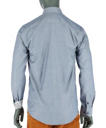 REPABLO slim modro-bílá košile plná detailů