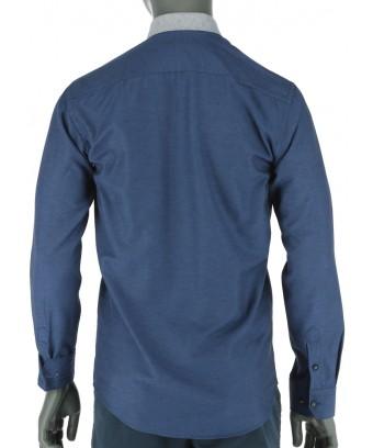 REPABLO tmavě modrá slim košile s výrazným límcem