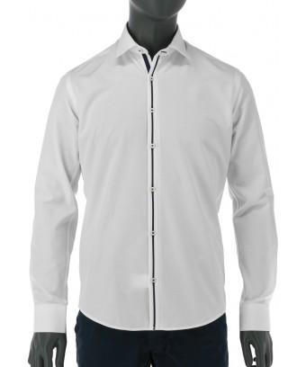 REPABLO bílá košile s dekorativním modrým pruhem