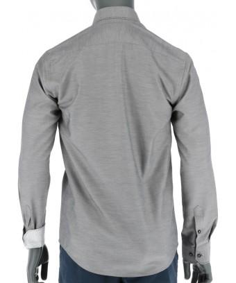 REPABLO šedá slim košile s výrazným černým prošíváním