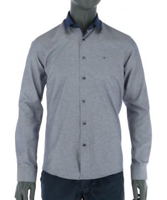 REPABLO kobaltově modrá slim košile s modrým límcem