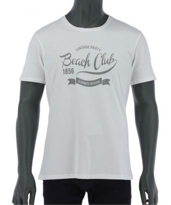REPABLO bílé triko s nápisem Baech Club