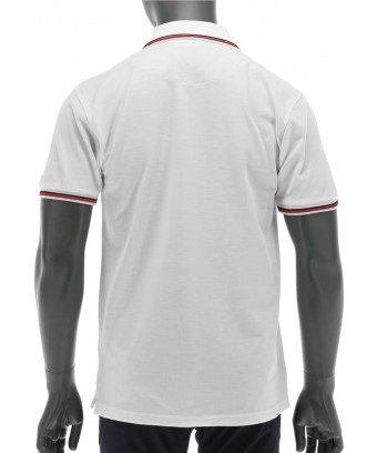 REPABLO bílé polo triko s červenými linkami na rukávech