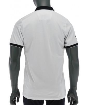 REPABLO bílé polo triko s modrým límečkem