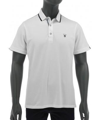 REPABLO bílé polo triko s černou linkou