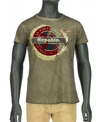 REPABLO khaki zelené triko s logem vepředu