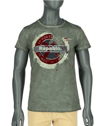 REPABLO zelené khaki triko s logem vepředu