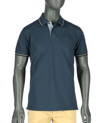REPABLO modré polo triko s černobílou linkou