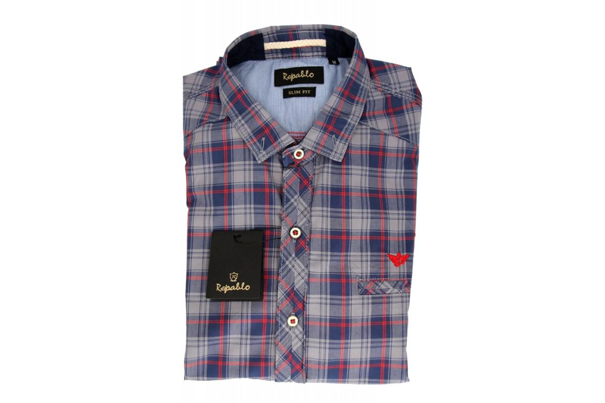 REPABLO károvaná modro červená košile - REPABLO 0120 53ffa5837a