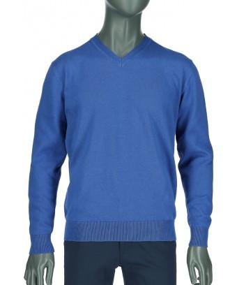REPABLO modrý společenský svetr s večkovým výstřihem ... 7eea275e48