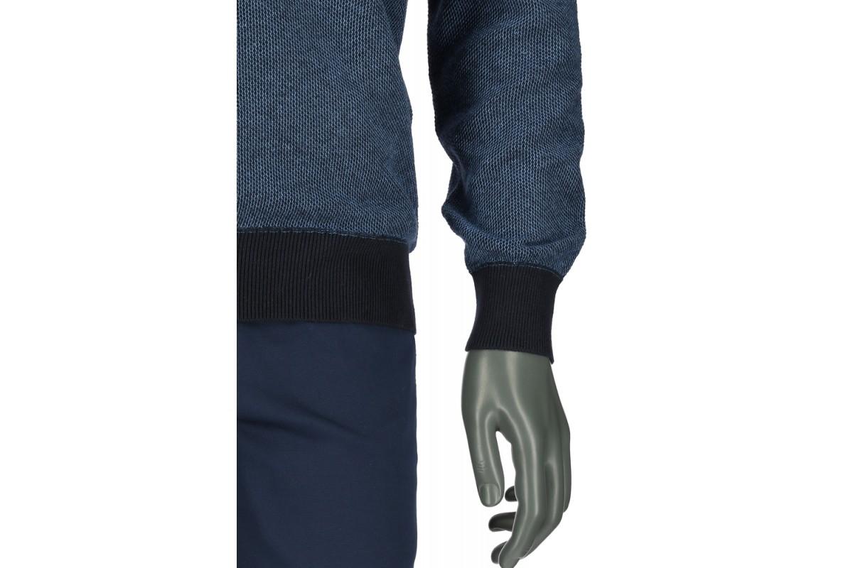 REPABLO modrý žíhaný svetr s výstřihem do véčka - SWJ 1712-4 b550d940d9
